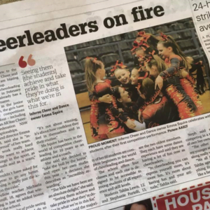 Cheerleaders on fire